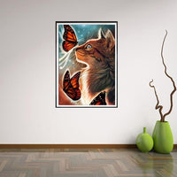 5D Square Diamond Painting Best Gift Dream Cat And Butterfly  VM1129 (1766939394138)