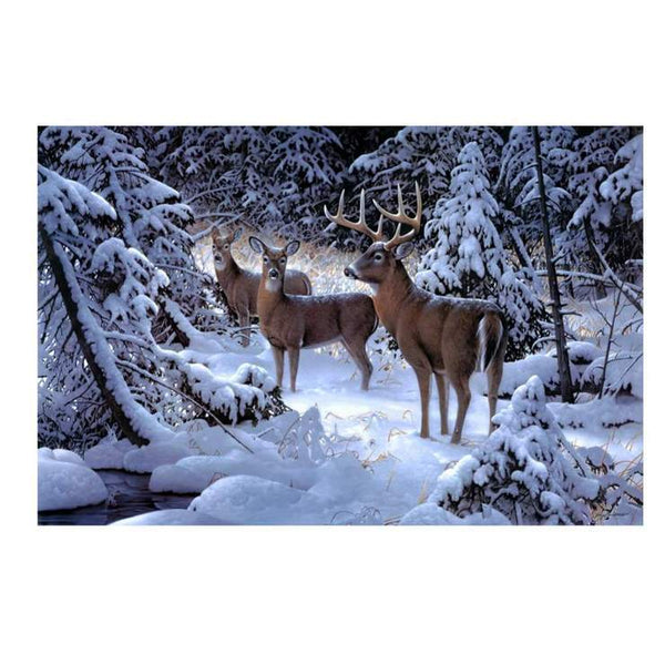 5D DIY Diamond Painting Winter Series Snow Woods Deer AF9130