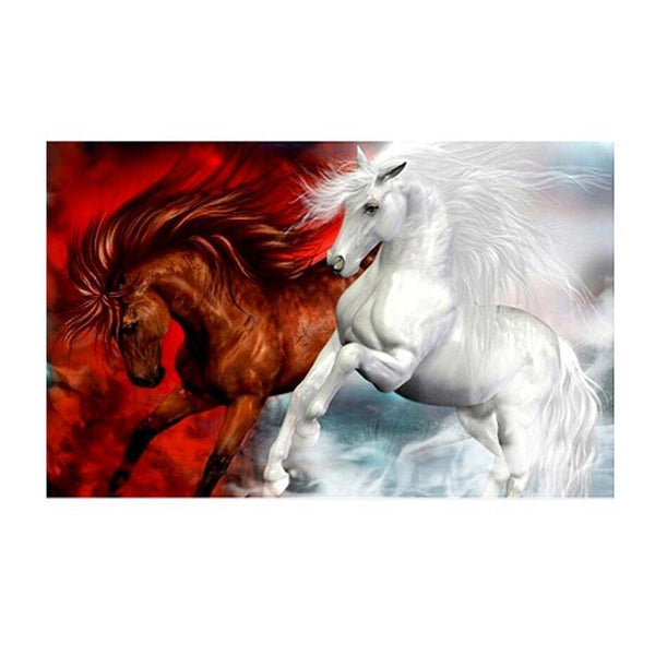 Cheap Red and White Horse Diamond Painting Kits AF9178