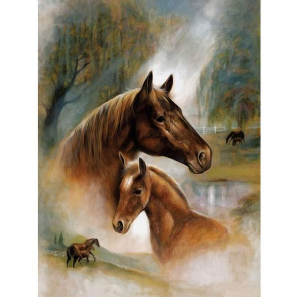 5D DIY Diamond Painting Kits Watercolor Warm and Sweet Horse AF9179