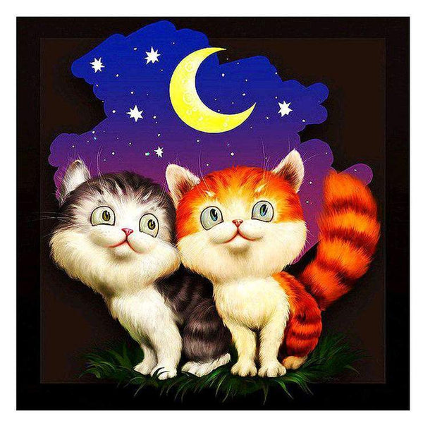 5d DIY Diamond Painting Kits Cartoon Cat With Romantic moonlit AF9425