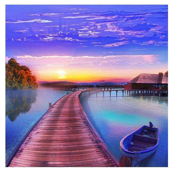 5d Diamond Painting Kits Blue Style Hot Sale Beautiful Sea Trestle Af9726