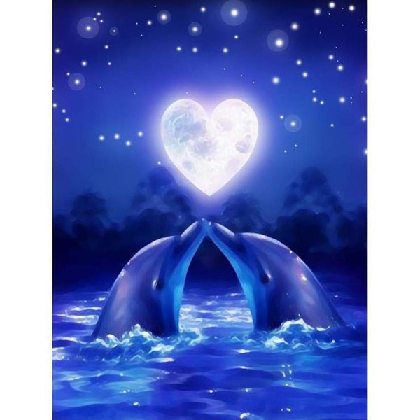 5D Diamond Painting Kits Blue Night Dolphin kiss AF9413