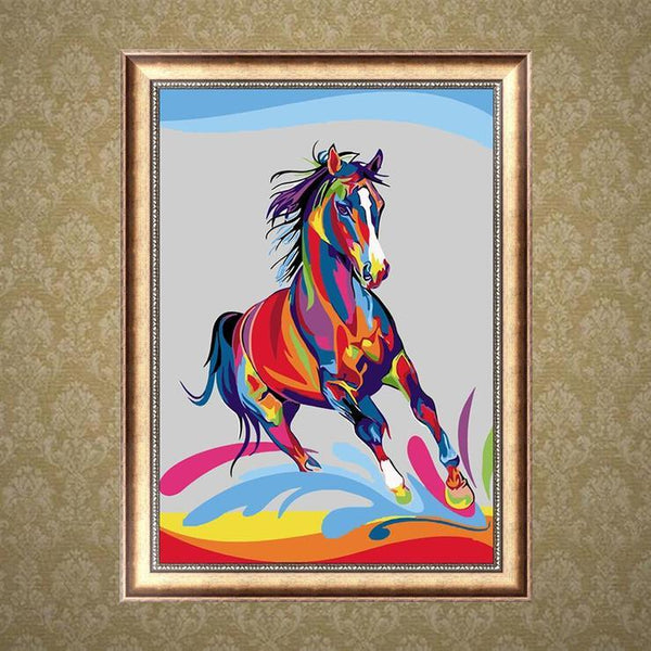 Cheap Modern Art Styles Colorful Horse Diamond Painting Kits  AF9182