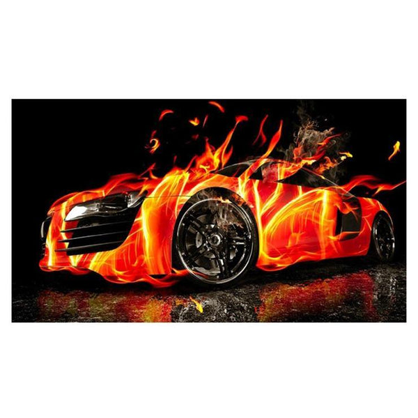Cool Orange burn effect  Cars Diamond Painting Kits AF9410