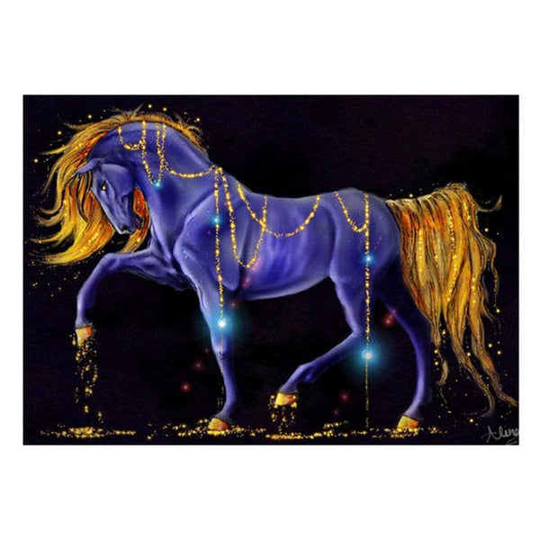 5d Diamond Painting Kits For kids Blue Gold Horse AF9183