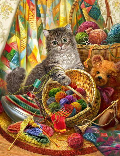 2019 5D Diy Diamond Painting Kits Cat With Ball Of Yarn VM90078