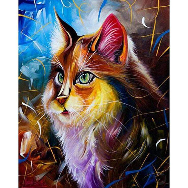 2019 5d Diy Cross Stitch Diamond Painting Kits Oil Painting Style Cat QB7000