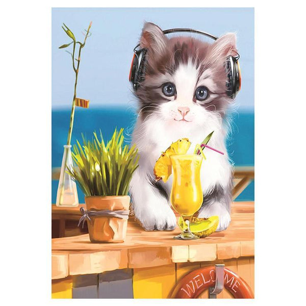 Oil Painting Style Listen Music Cat 5d Diy Cross Stitch Diamond Painting Kits QB7028