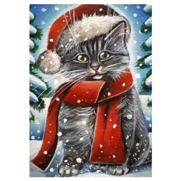 Christmas Special Style Cat 5d Diy Cross Stitch Diamond Painting Kits QB7070