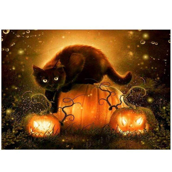 New Halloween Style Cat 5d Diy Cross Stitch Diamond Painting Kits QB7089