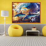 Oil Painting Style Dolphin 5d Diy Cross Stitch Diamond Painting Kits QB6509