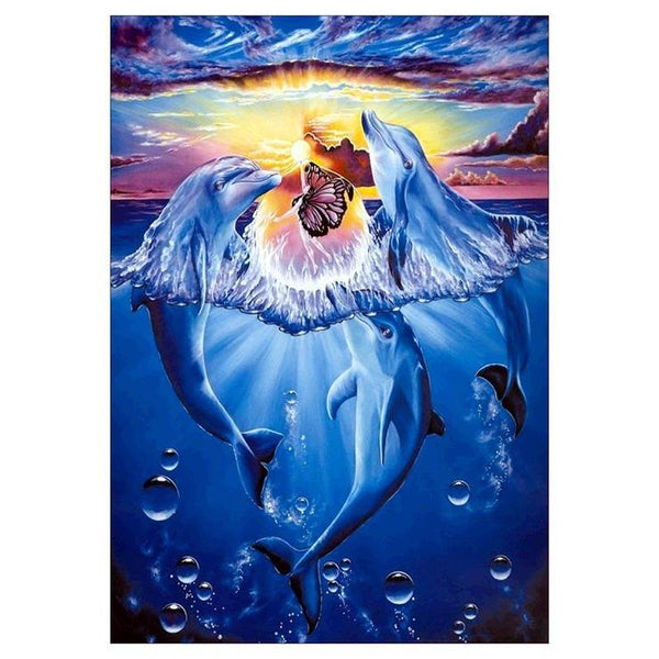 Oil Painting Style Dolphin 5d Diy Cross Stitch Diamond Painting Kits QB6510