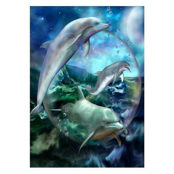 New Fantasy Dream Dolphin 5d Diy Cross Stitch Diamond Painting Kits QB6511