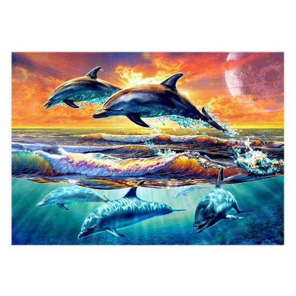 New Oil Painting Style Dolphin 5d Diy Cross Stitch Diamond Painting Kits QB6514