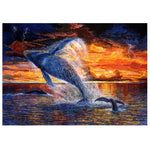 New Oil Painting Style Dolphin 5d Diy Cross Stitch Diamond Painting Kits QB65114
