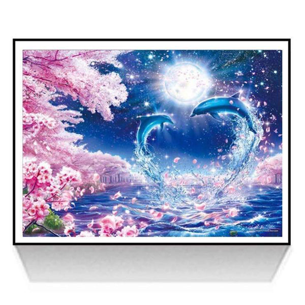 New Oil Painting Style Dolphin 5d Diy Cross Stitch Diamond Painting Kits QB6519