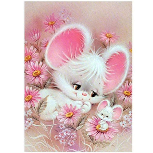 5d Diy Cross Stitch Diamond Painting Kits Pink Rabbit QB7108