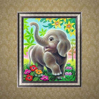 Hot Sale Cute Elephant In Garden 5d Diy Full Diamond Painting Elephant Kits VM3004 (1766981173338)
