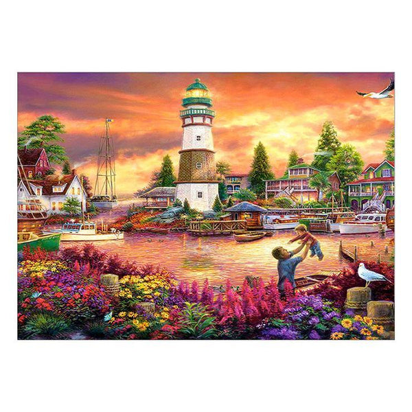 Home Decorate Oil Painting Style Lighthouse Diy 5d Diamond Painting Kits QB5356