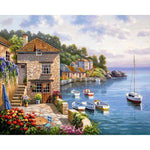 New Arrival Oil Painting Style Seaside Cottage Diy 5d Diamond Painting Kits QB5357
