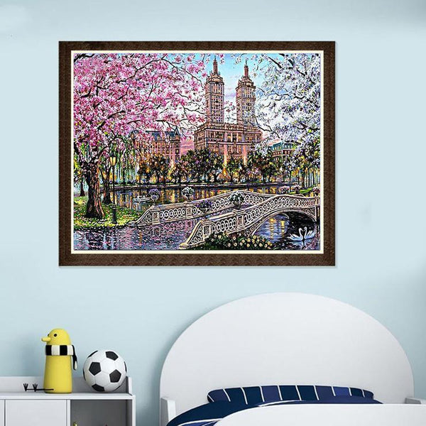 2019 5d Diamond Painting Kits Watercolor Landscape Town QB5353
