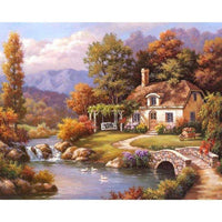 Hot Sale Oil Painting Style Village Cottage Diy 5d Diamond Painting Kits QB5354