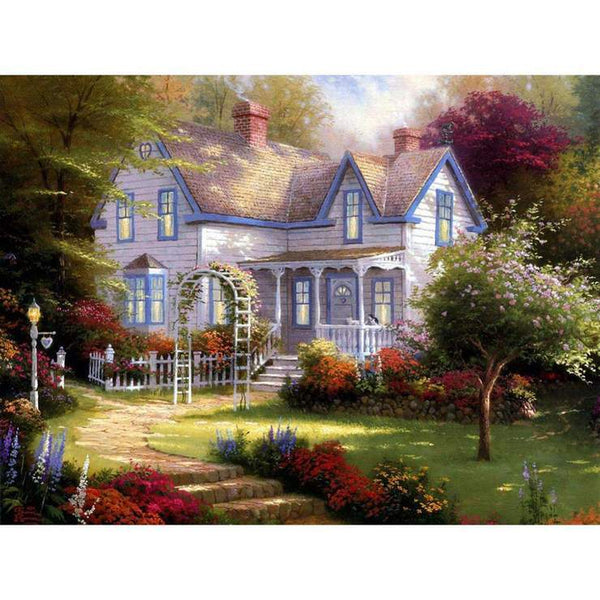 Hot Sale Oil Painting Style Village Cottage Diy 5d Diamond Painting Kits QB5355