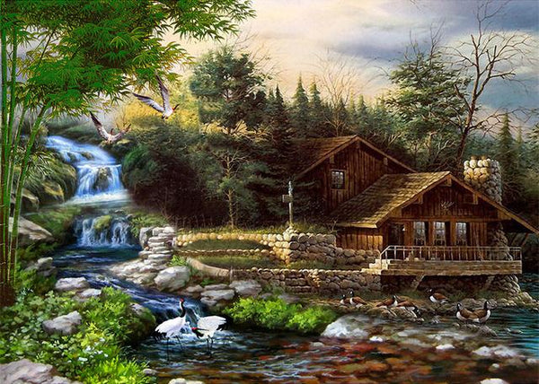 2019 5D Diy Diamond Painting Kits Cross Stitch Waterfall House VM90354