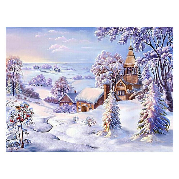 5d Diy Diamond Painting Kits Best Winter Landscape Village  QB7151