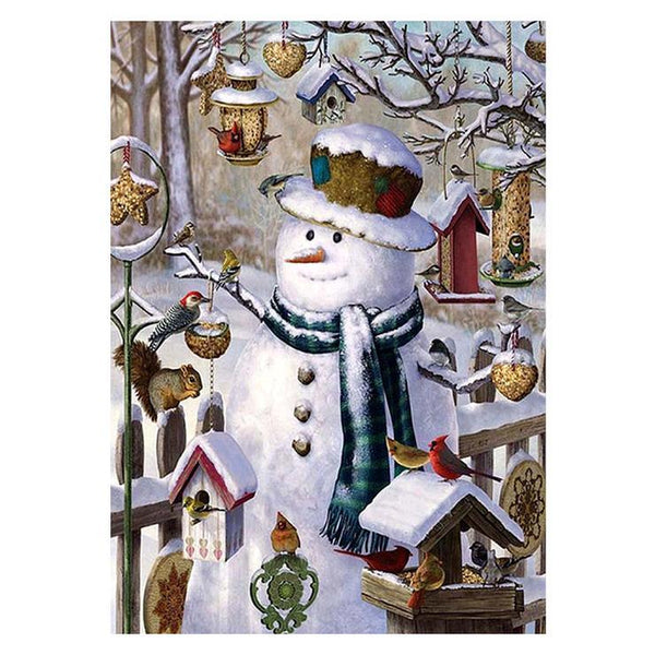 2019 5d Diy Diamond Painting Kits Snowman With Birds QB7135