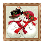 New Arrival Cartoon Snowman Lover 5d Diy Cross Stitch Diamond Painting Kits QB7136