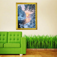 2019 5D DIY Diamond Painting Winter Tranquil Forest And Sunset Nature VM1364 (1766950207578)