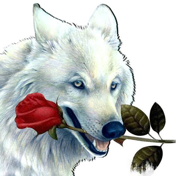 New Oil Painting Style Wolf Rose Pattern 5d Diy Cross Stitch Diamond Painting Kits QB6574