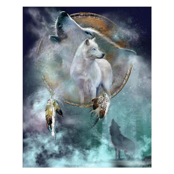 New Dream Catcher Wolf Pattern 5d Diy Cross Stitch Diamond Painting Kits QB657