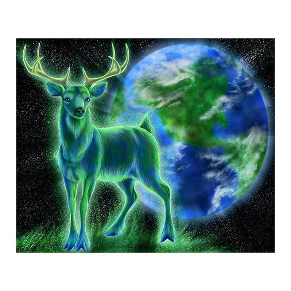 Fantasy Styles Green and Blue Deer Diamond Painting Kits For kids AF9134