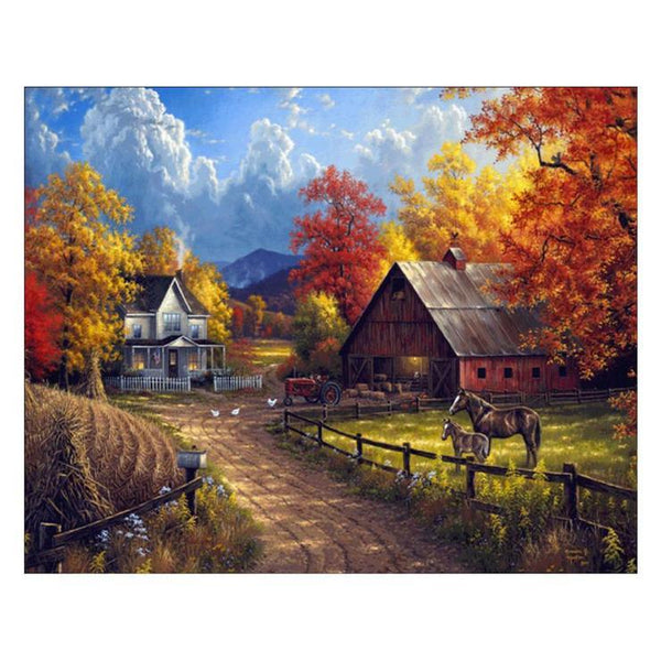5D Diamond Painting Kits Autumn Oil Painting Styles Beautiful Cottage Af9609