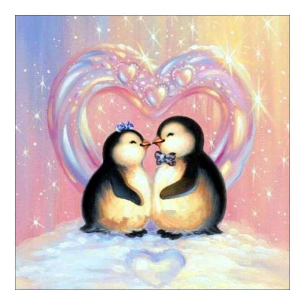 5D DIY Diamond Painting Kits Valentines Day Gift Cartoon Penguins in love AF9426