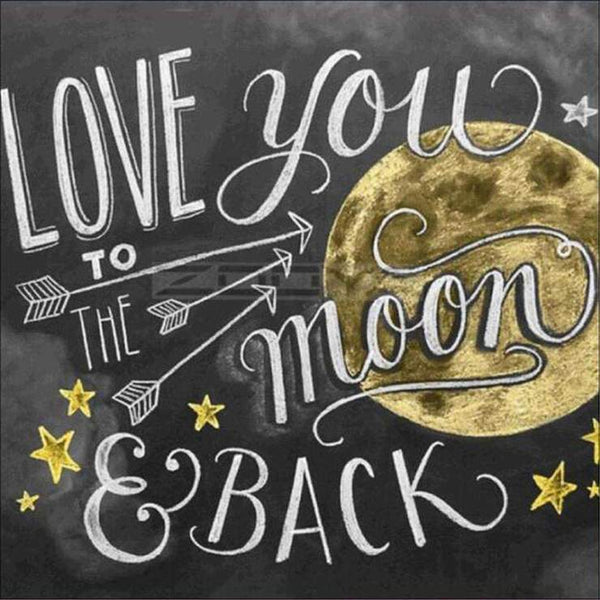 Love You To The Moon Blackboard Diamond Painting Kits AF9050