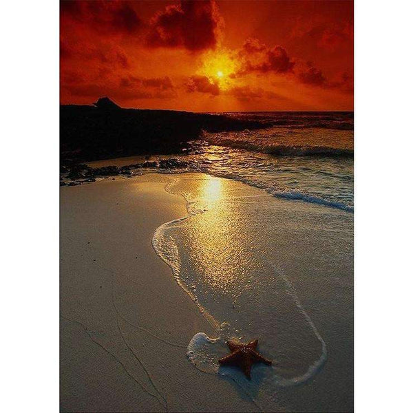 Hot Sale Quiet Beautiful Beach Sunset Diamond Painting Kits Af9723