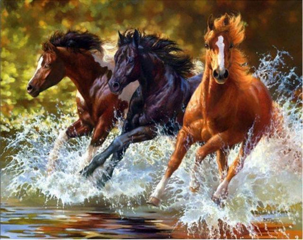 5D DIY Diamond Painting Cross Stitch Rhinestone Horses Kits VM90378
