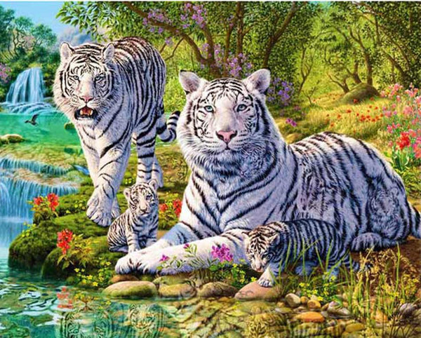 2019 5D DIY Diamond Painting White Tiger Embroidery Kits VM90519