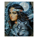 Oil Painting Style Beauty And Animal 5d Diy Cross Stitch Diamond Painting Kits QB6539