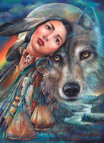 5D Diy Diamond Painting Kits Cross Stitch Beauty And Wolf VM90556