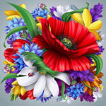 5d Full Diamond Painting Kits Colorful Flower QB5731