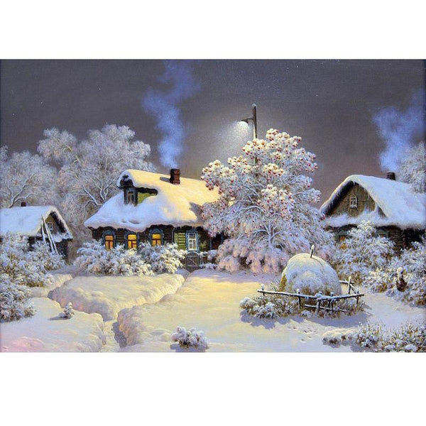 Hot Sale Winter Village Landscape 5d Diy Rhinestone Cross Stitch Kits VM01161