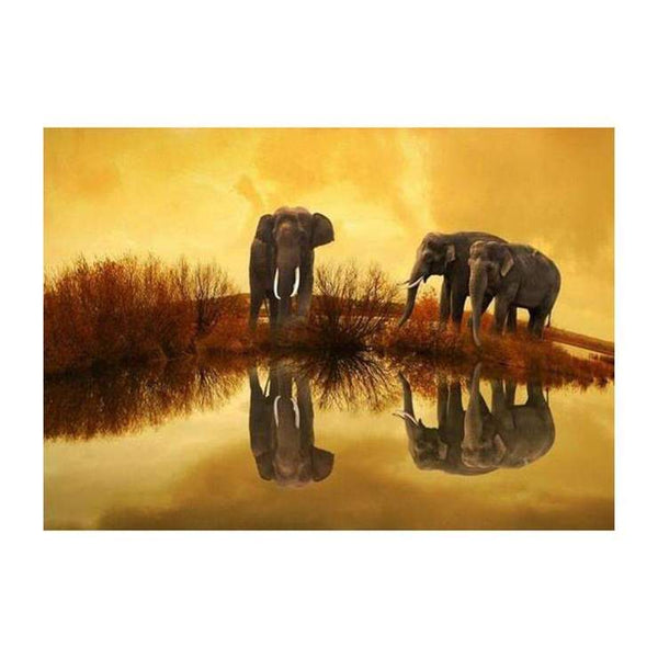 2019 5d DIY Diamond Painting Kits Two Elephant By The Water QB5393