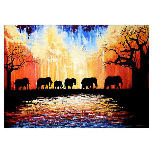 Home Decorate Oil Painting Style Elephant Diy 5d Diamond Painting Kits QB5384
