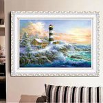 Oil Painting Style Home Decorate Lighthouse Diy 5d Diamond Painting Kits QB5405