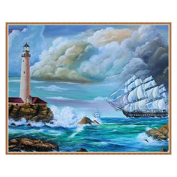 Home Decorate Oil Painting Style Lighthouse Diy 5d Diamond Painting Kits QB5407
